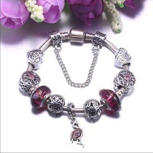 Jewelry - Brand New Purple Crystal Flamingo Charm Bracelet